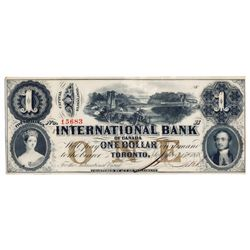 THE INTERNATIONAL BANK OF CANADA. $1.00. Sept. 15, 1858. Bridge. CH-380-10-08-08. Signed J.R. Fitch.
