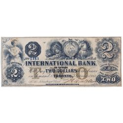 THE INTERNATIONAL BANK OF CANADA. $2.00. Sept. 15, 1858. CH-380-10-08-10. Signed J.H. Markell. Brown