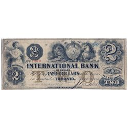THE INTERNATIONAL BANK OF CANADA. $2.00. Sept. 15, 1858. CH-380-10-08-12. Signed J.R. Fitch. Brown '