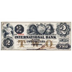 THE INTERNATIONAL BANK OF CANADA. $2.00. Sept. 15, 1858. CH-380-10-08012. Signed J.R. Fitch. Brown '