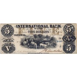 THE INTERNATIONAL BANK OF CANADA. $5.00. Sept. 15, 1858. CH-380-10-08-24. Signed J.H. Markell. Brown