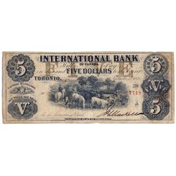 THE INTERNATIONAL BANK OF CANADA. $5.00. Sept. 15, 1858. CH-380-10-08-14a. Signed J.H. Markell. Brow