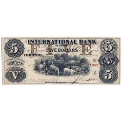THE INTERNATIONAL BANK OF CANADA. $5.00. Sept. 15, 1858. CH-380-10-08-16. Signed J.R. Fitch. Brown '