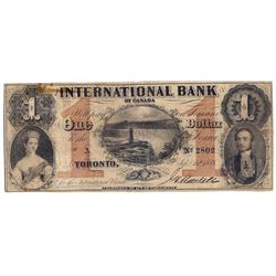 THE INTERNATIONAL BANK OF CANADA. $1.00. Sept. 15, 1858. Falls. CH-380-10-10-02. Signed J.H. Markell