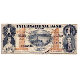 THE INTERNATIONAL BANK OF CANADA. $1.00. Sept. 15, 1858. Falls. CH-380-10-10-04. Signed J.R. Fitch.