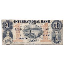 THE INTERNATIONAL BANK OF CANADA. $1.00. Sept. 15, 1858. Falls. CH-380-10-10-04. No Signature (altho