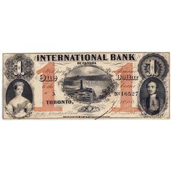 THE INTERNATIONAL BANK OF CANADA. $1.00. Sept. 15, 1858. Falls. CH-380-10-10-04a. Signed J.R. Fitch.