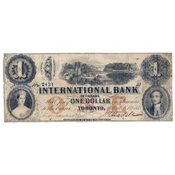 THE INTERNATIONAL BANK OF CANADA. $1.00. Sept. 15, 1858. Bridge. CH-380-10-10-06. Signed J.H. Markel
