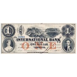 THE INTERNATIONAL BANK OF CANADA. $1.00. Sept. 15, 1858. Bridge. CH-380-10-10-08. Signed J.R. Fitch.