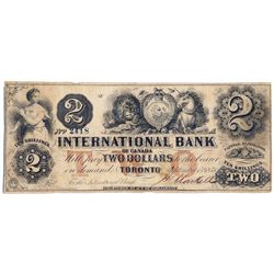THE INTERNATIONAL BANK OF CANADA. $2.00. Sept. 15, 1858. CH-380-10-10-10. Signed J.H. Markel. Red 'w