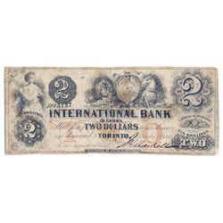 THE INTERNATIONAL BANK OF CANADA. $2.00. Sept. 15, 1858. CH-380-10-10-10. Signed J.H. Markell. Red '