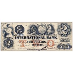THE INTERNATIONAL BANK OF CANADA. $2.00. Sept. 15, 1858. CH-380-10-10-12. Signed J.R. Fitch. Red 'wo