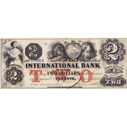 THE INTERNATIONAL BANK OF CANADA. $2.00. Sept. 15, 1858. CH-380-10-10-12a. Signed J.R. Fitch. Red 'w