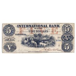 THE INTERNATIONAL BANK OF CANADA. $5.00. Sept. 15, 1858. CH-380-10-10-14. Signed J.H. Markell. Red '