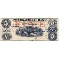 THE INTERNATIONAL BANK OF CANADA. $5.00. Sept. 15, 1858. CH-380-10-10-16a. Signed J.R. Fitch. Red 'w