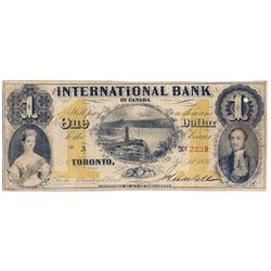 THE INTERNATIONAL BANK OF CANADA. $1.00. Sept. 15, 1858. CH-380-10-12-02. Signed J.H. Markell. Ochre