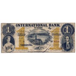 THE INTERNATIONAL BANK OF CANADA. $1.00. Sept. 15, 1858. Falls. CH-380-10-12-04. Signed J.R. Fitch.