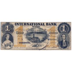 THE INTERNATIONAL BANK OF CANADA. $1.00. Sept. 15, 1858. Falls. CH-380-10-12-04a. Signed J.R. Fitch.