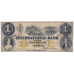 THE INTERNATIONAL BANK OF CANADA. $1.00. Sept. 15, 1858. Bridge. CH-380-10-12-06. Signed J.H. Markel