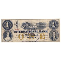THE INTERNATIONAL BANK OF CANADA. $1.00. Sept. 15, 1858. CH-380-10-12-08. Bridge. Signed J.R. Fitch.