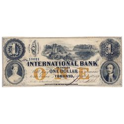 THE INTERNATIONAL BANK OF CANADA. $1.00. Sept. 15, 1858. Bridge. CH-380-10-12-08a. Signed J.R. Fitch