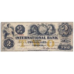 THE INTERNATIONAL BANK OF CANADA. $2.00. Sept. 15, 1858. CH-380-10-12-10. Signed J.H. Markell. Ochre