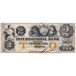 THE INTERNATIONAL BANK OF CANADA. $2.00. Sept. 15, 1858. CH-380-10-12-12. Signed J.R. Fitch. Ochre '
