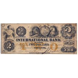 THE INTERNATIONAL BANK OF CANADA. $2.00. Sept. 15, 1858. CH-380-10-12-12a. Signed J.R. Fitch. Ochre