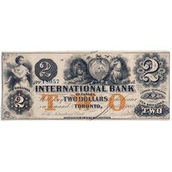 THE INTERNATIONAL BANK OF CANADA. $2.00. Sept. 15, 1858. CH-380-10-12-12b. Signed J.R. Fitch. Ochre