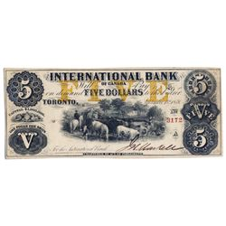 THE INTERNATIONAL BANK OF CANADA. $5.00. Sept. 15, 1858. CH-380-10-12-14. Signed J.H. Markell. Ochre