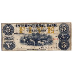 THE INTERNATIONAL BANK OF CANADA. $5.00. Sept. 15, 1858. CH-380-10-12-114. Signed J.H. Markell. Ochr