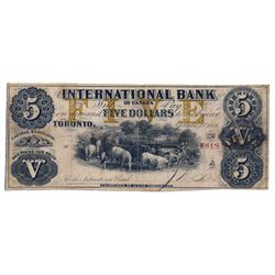 THE INTERNATIONAL BANK OF CANADA. $5.00. Sept. 15, 1858. CH-380-10-12-16. Signed J.R. Fitch. Ochre '
