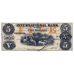THE INTERNATIONAL BANK OF CANADA. $5.00. Sept. 15, 1858. CH-380-10-12-16a. Signed J.R. Fitch. Ochre