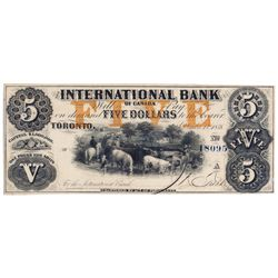 THE INTERNATIONAL BANK OF CANADA. $5.00. Sept. 15, 1858. CH-380-10-12-16b. Signed J.R. Fitch. Ochre