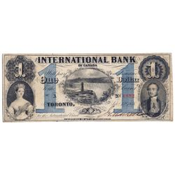 THE INTERNATIONAL BANK OF CANADA. $1.00. Sept. 15, 1858. Falls. CH-380-10-14-02. Signed J.R. Markell