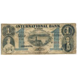 THE INTERNATIONAL BANK OF CANADA. $1.00. Sept. 15, 1858. Falls. CH-380-10-14-04. Signed J.R. Fitch.