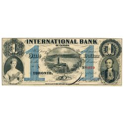 THE INTERNATIONAL BANK OF CANADA. $1.00. Sept. 15, 1858. Falls. CH-380-10-14-04.Signed. Blue 'numera
