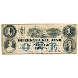 THE INTERNATIONAL BANK OF CANADA. $1.00. Sept. 15, 1858. Bridge. CH-380-10-16-06. Signed J.H. Markel