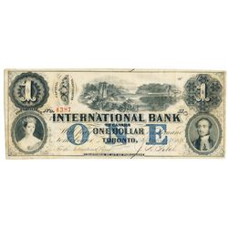 THE INTERNATIONAL BANK OF CANADA. $1.00. Sept. 15, 1858. Bridge. CH-380-10-16-08. Signed J.R. Fitch.