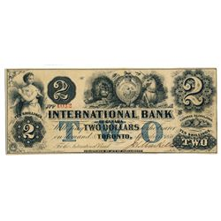 THE INTERNATIONAL BANK OF CANADA. $2.00. Sept. 15, 1858. CH-380-10-14-10. Signed J.H. Markell. Blue