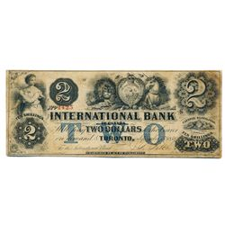 THE INTERNATIONAL BANK OF CANADA. $2.00. Sept. 15, 1858. CH-380-10-14-12. Signed J.R. Fitch. Two 'wo