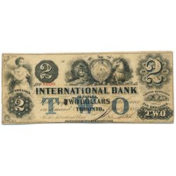 THE INTERNATIONAL BANK OF CANADA. $2.00. Sept. 15, 1858. CH-380-10-14-12. Signed J.R. Fitch. Blue -w