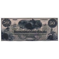 THE INTERNATIONAL BANK OF CANADA. $50.00. June 1, 1859. CH-380-12-06. Signed J.R. Fitch. Green 'word