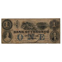 THE BANK OF TORONTO, Altered from THE INTERNATIONAL BANK OF CANADA. $1.00. Sept. 15, 1858. CH-380-10