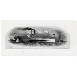 "THE INTERNATIONAL BANK OF CANADA. Die Proof Vignette. 'Paddlewheel Steam Ship'. 8"" x 4"". The vignett"