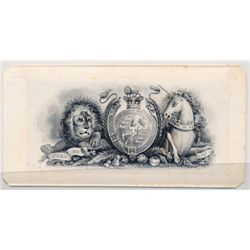 "THE INTERNATIONAL BANK OF CANADA. Die Proof Vignette. 'Royal Crest-Lion & Unicorn'. 2"" x 4"". The vig"