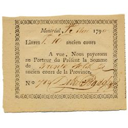 DOBIE & BADGLEY. Montreal, Lower Canada. 1 Livre 10 Sols. (30 sols). 1 May, 1790. No. 783. CH-QC130-