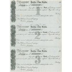 An uncut sheet of a First, Second & Third of Exchange. Halifax, Nova Scotia. To: Mess. Williams, Dea