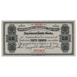 Newfoundland Government Cash Note. 50 Cents. 1906. NF-3fS. Specimen. PMG Gem Unc-67 EPQ.