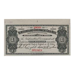 Newfoundland Government Cash Note. $1.00. 1906. NF-5fS. Specimen. PMG Superb Gem Unc-67 EPQ.